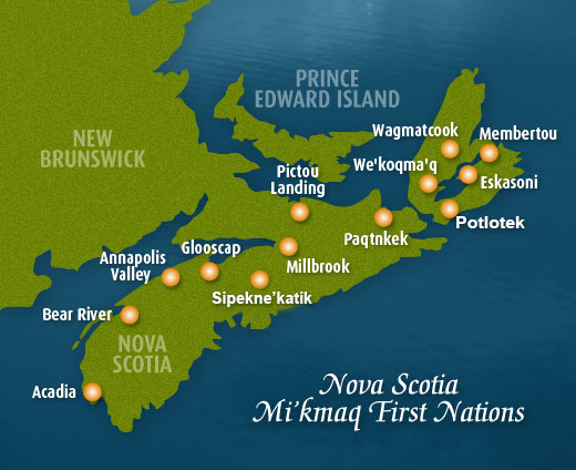 Map of First Nations in Nova Scotia