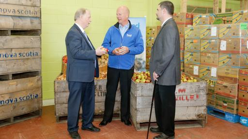 Minister Colwell with Nick Jennery of Feed NS and Chris van den Heuvel of NS Federation of Agriculture.