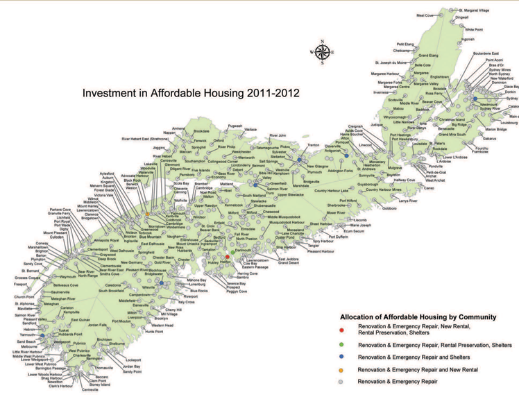 Map of Affordable Housing Projects Nova Scotia Department of