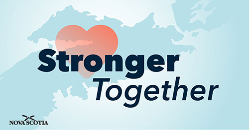 Province of Nova Scotia with a heart and the words stronger together overlaid