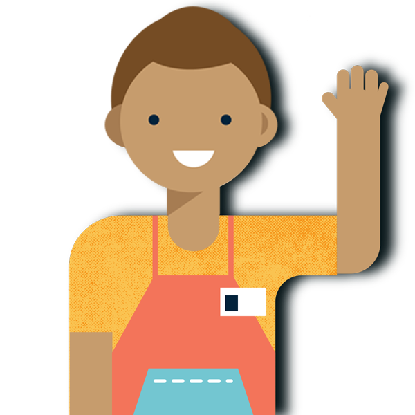 illustration of worker waving