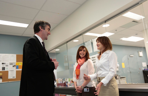 Premier Stephen  McNeil talks to Nurse Practitioner Tracey Jarvis (right) and Candace Swain (FPN) at the official opening of the Bridgewater and Area Family Health Centre.