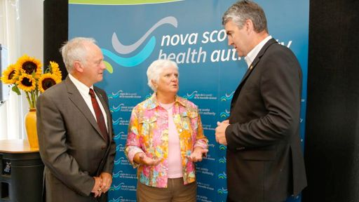 Health and Wellness Minister Leo Glavine, Diana Patterson of Valley Hospice Foundation and Premier McNeil speak after the announcement