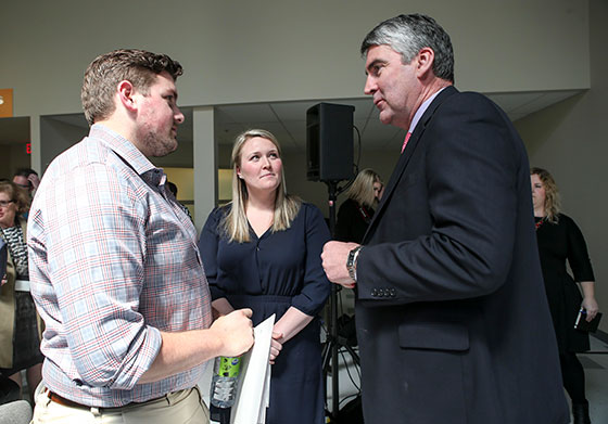 Pictured are new family doctor Mike Gniewek and new nurse practitioner Sarah Colgan speaking with Premier Stephen McNeil.