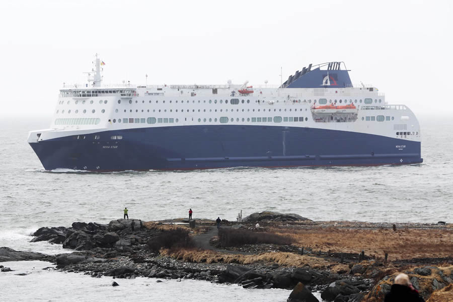 The Nova Star sailing in the Yarmouth harbor.