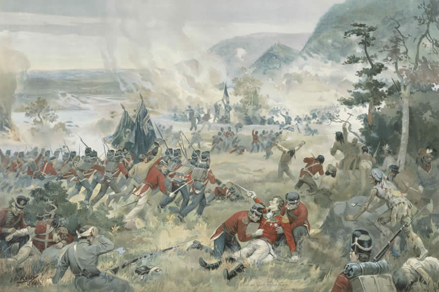 A painting of the Battle of Queenston Heights from the exhibition.