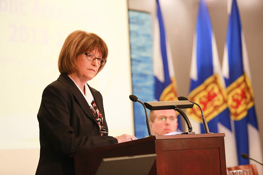 Finance and Treasury Board Minister Diana Whalen releases the 2013-14 public accounts.