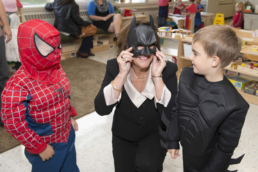 Education and Early Childhood Development Minister Karen Casey interacts with children at the new Early Years Centre for Yarmouth Central School.