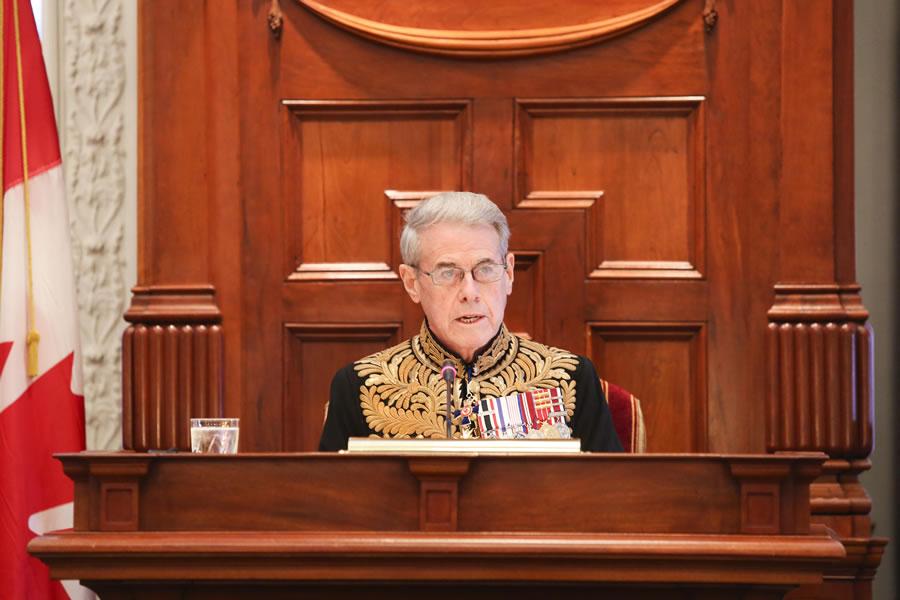 Lt.-Gov. J.J. Grant reads a speech from the throne last November.