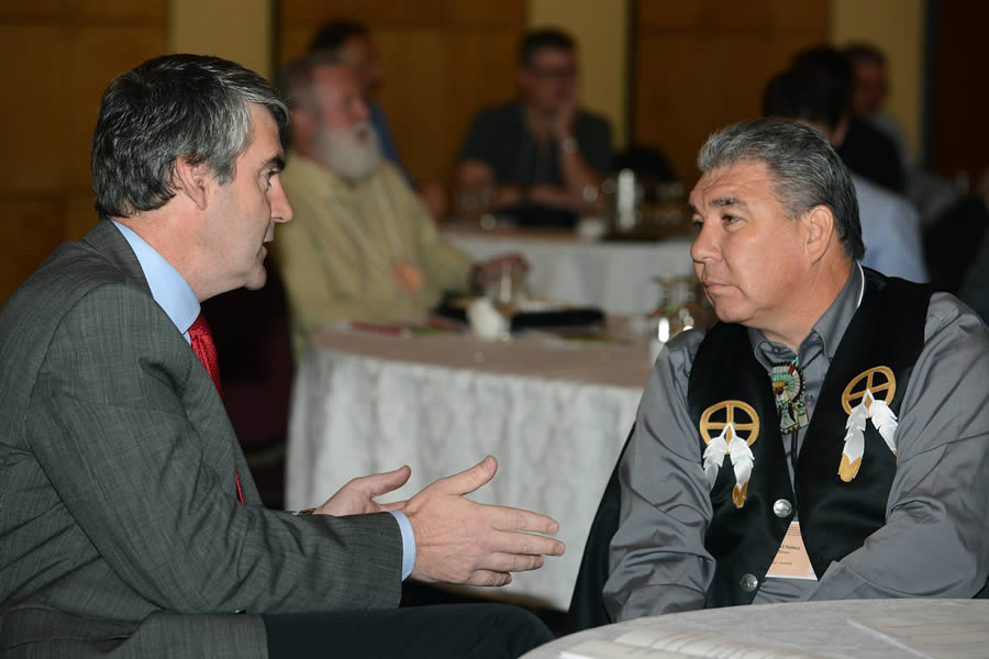 (From left) Premier Stephen McNeil speaks with Chief Sidney Peters, co-chair of the Assembly of Nova Scotia Mi'kmaq Chiefs, at the seminar.