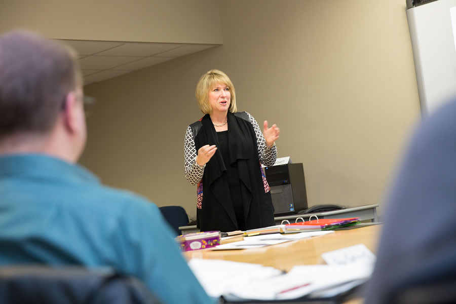Labour and Advanced Education Minister Kelly Regan speaks during a workplace education program session at the NSCC Leeds Street Campus.
