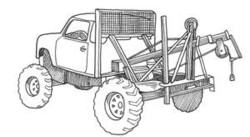 A truck tractor has high approach and departure angles.