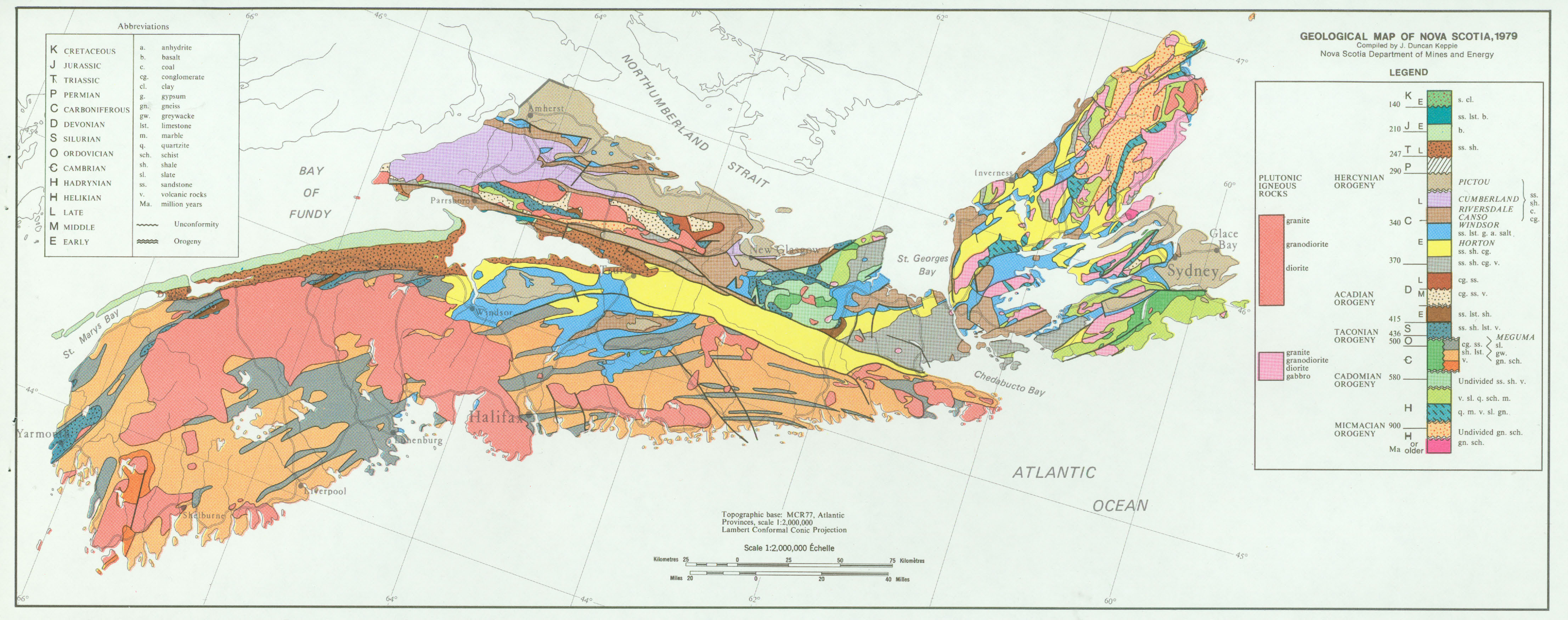 Geological Map Of Nova Scotia Novascotia Ca