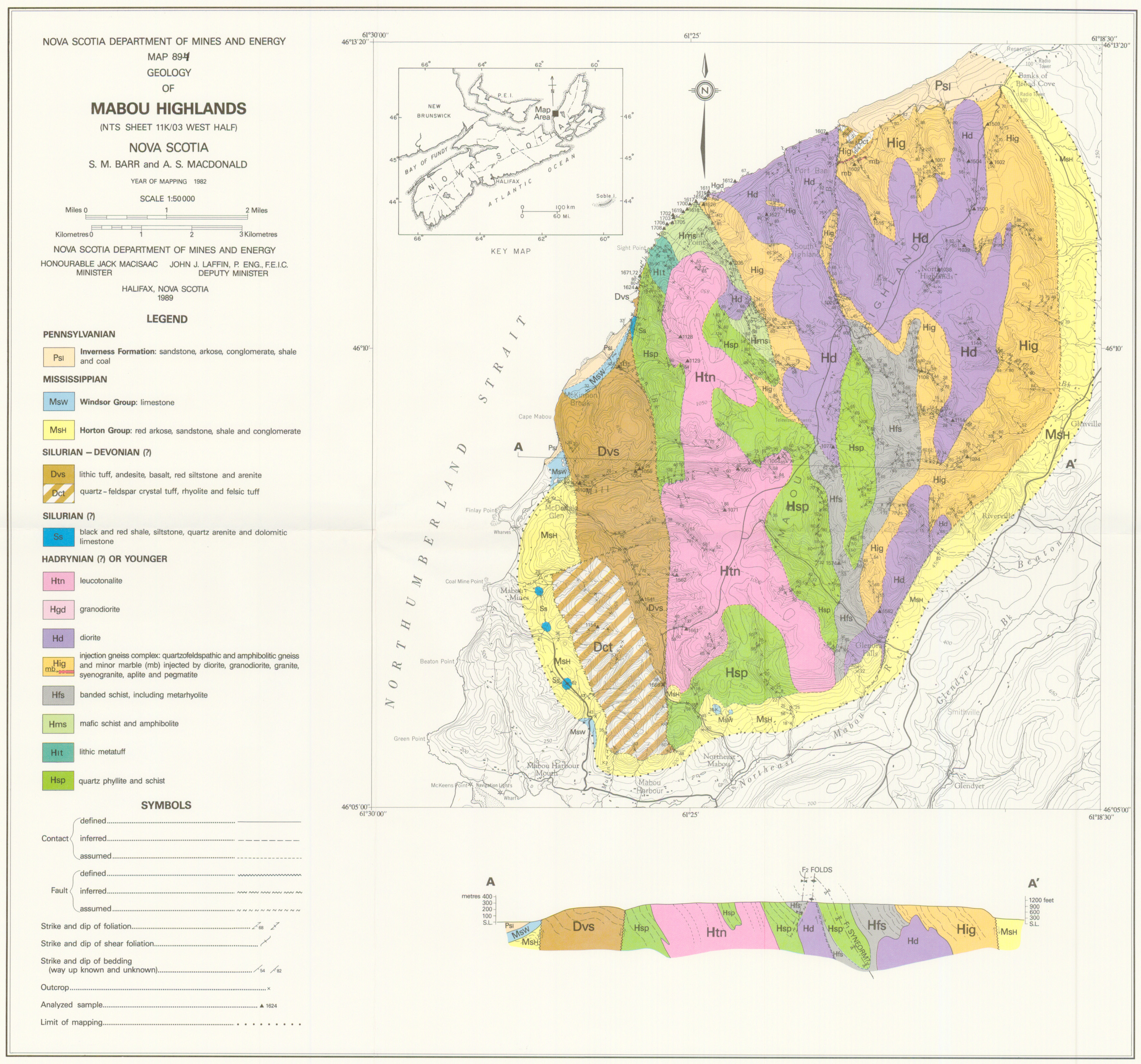 Geological map of the mabou highlands novascotia download jpg of map me 1989 004 30 mb download pdf gumiabroncs Images