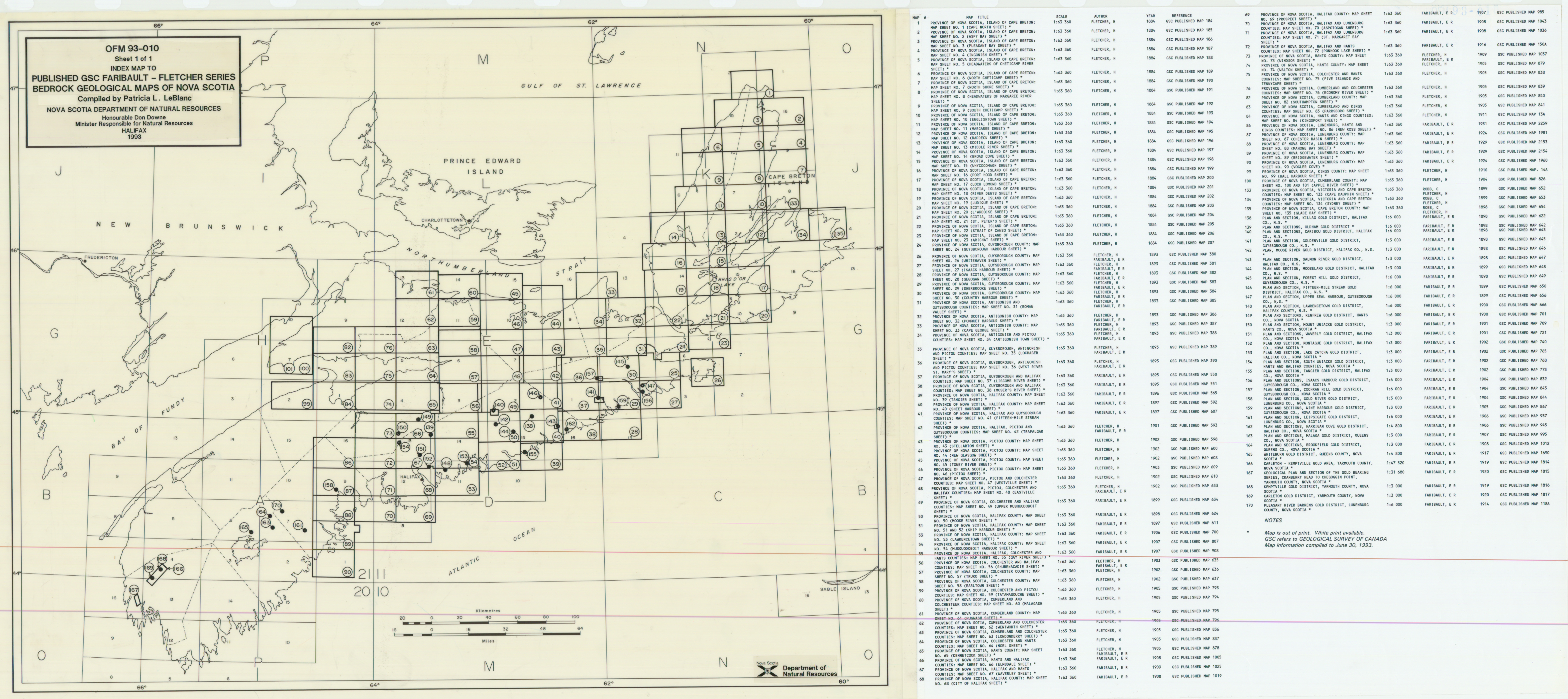 Index Map to Geological Survey of Canada Faribault-Fletcher