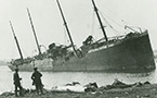 Norwegian steamship Imo beached on Dartmouth shore after the explosion.