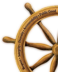 Ship's Wheel: Respect • Integrity • Diversity • Accountability • Public Good