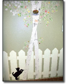 Painting of tree with cat looking up towards a bird's nest