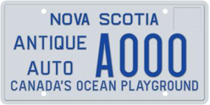 Nova Scotia Antique Plates for Passenger or Light Commercial Vehicles