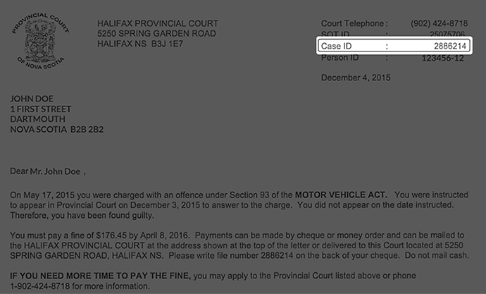 Fine Payments Government Of Ns