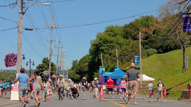 People walking and biking during Switch Dartmouth in August
