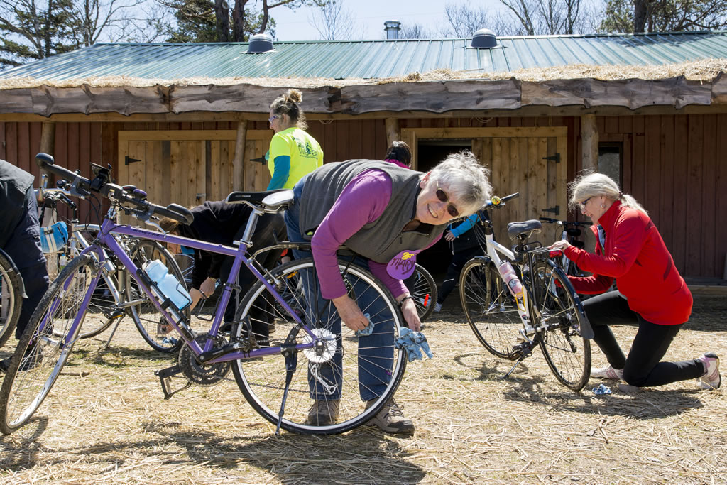 Kids learn cycling safety skills through the Ecology Action Centre's Making Tracks program.
